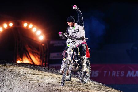 solna: SOLNA, SWEDEN - MARCH 4, 2016: Presentation of Fredrik Berggren (SWE) at the Night of the jumps in Stockholm, Friends arena