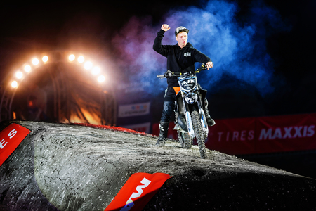 solna: SOLNA, SWEDEN - MARCH 4, 2016: Presentation of Pat Bowden (AUS) at the Night of the jumps in Stockholm, Friends arena