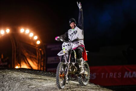 solna: SOLNA, SWEDEN - MARCH 4, 2016: Presentation of Fredrik Frog Berggren (SWE) at the Night of the jumps in Stockholm, Friends arena Editorial