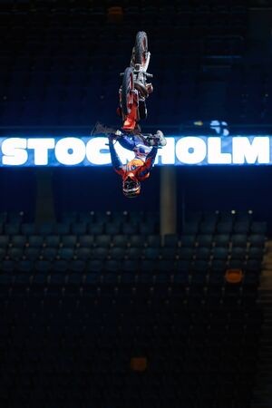 esp: SOLNA, SWEDEN - MARCH 4, 2016: Acrobatic jump from Jose Miralles (ESP) at the Night of the jumps in Stockholm, Friends arena