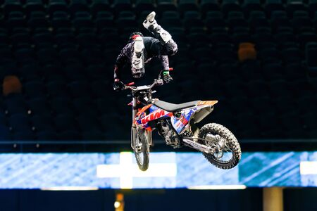 solna: SOLNA, SWEDEN - MARCH 4, 2016: Acrobatic jump from Hannes Ackermann (GER) at the Night of the jumps in Stockholm, Friends arena