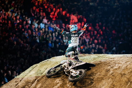 solna: SOLNA, SWEDEN - MARCH 4, 2016: Brice Izzo (FRA) thanking the crowd at the Night of the jumps in Stockholm, Friends arena