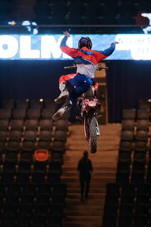 solna: SOLNA, SWEDEN - MARCH 4, 2016: Acrobatic jump from Jose Miralles (ESP) at the Night of the jumps in Stockholm, Friends arena