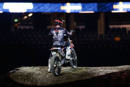 solna: SOLNA, SWEDEN - MARCH 4, 2016: Hannes Ackermann (GER) after his race at the Night of the jumps in Stockholm, Friends arena Editorial