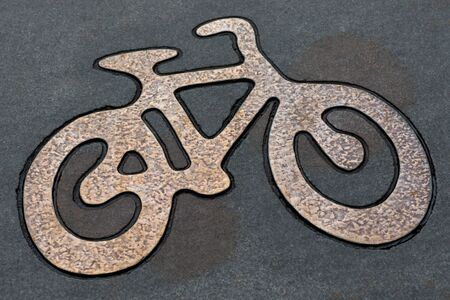 road bike: Bike sign on bicycle road in Stockholm. Stock Photo
