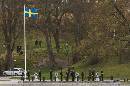 21: STOCKHOLM, SWEDEN - APRIL 20, 2016: Salute at Skeppsholmen for the newborn prince of Sweden. 21 cannon shots fired.