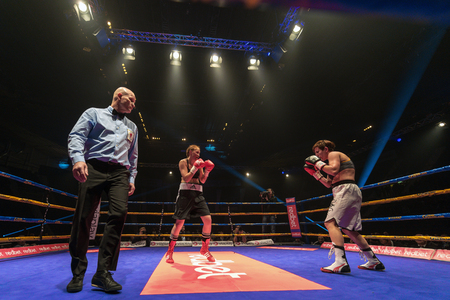 STOCKHOLM, SWEDEN - APRIL 23, 2016: Female proffesional boxing between Patricia Berghult (SWE) and Katarina Vistica (BA) Super lightweight. Berghult won Editorial