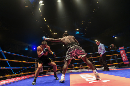 oscar: STOCKHOLM, SWEDEN - APRIL 23, 2016: Nordic fight night boxing between Oscar Ahlin (SWE) and Patrick Mendy (UK) Super Middleweight. Mendy won