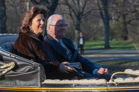 StOCKHOLM, SWEDEN - APRIL 29, 2016: Celebration of Carl XVI Gustaf of Sweden on his 70ths birthday with the Royal guards on horseback.