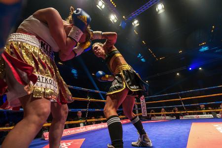 boxing match: STOCKHOLM, SWEDEN - APRIL 23, 2016: WBC Title boxing match between Mikaela Lauren (SWE) and Ivana Habazin (CRO) Super welterweight. Lauren won TKO