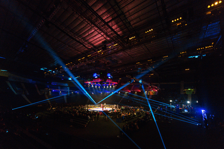 ringside: STOCKHOLM, SWEDEN - APRIL 23, 2016: The Hovet arena with the ringside in bright lights during the Nordic Fight Night