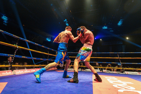 STOCKHOLM, SWEDEN - APRIL 23, 2016: IBO Title boxing match between Erik Skoglund (SWE) and Ryno Liebenberg (RSA) Light heavyweight. Erik Skoglund won