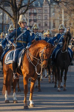 gustaf: StOCKHOLM, SWEDEN - APRIL 29, 2016: Celebration of Carl XVI Gustaf of Sweden on his 70ths birthday with the Royal guards on horseback.