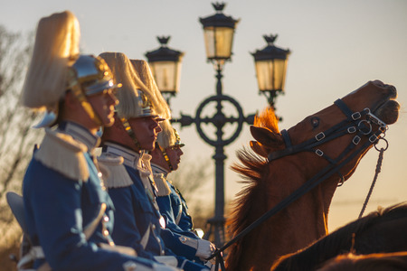 xvi: StOCKHOLM, SWEDEN - APRIL 29, 2016: Celebration of Carl XVI Gustaf of Sweden on his 70ths birthday with the Royal guards on horseback.