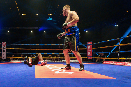 otto: STOCKHOLM, SWEDEN - APRIL 23, 2016: Nordic fight night boxing between Otto Wallin (SWE) and Irineu Beato Costa Jr (BRA) Heavyweight. Otto Wallin won KO