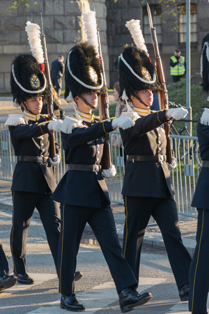 xvi: StOCKHOLM, SWEDEN - APRIL 29, 2016: Celebration of Carl XVI Gustaf of Sweden on his 70ths birthday with the Royal guards.