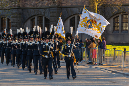 gustaf: StOCKHOLM, SWEDEN - APRIL 29, 2016: Celebration of Carl XVI Gustaf of Sweden on his 70ths birthday with the Royal guards.