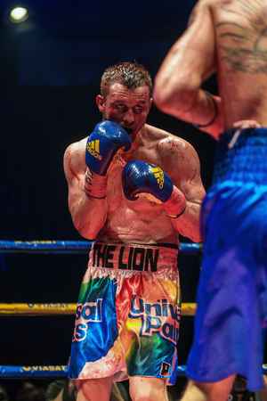 the heavyweight: STOCKHOLM, SWEDEN - APRIL 23, 2016: IBO Title boxing match between Erik Skoglund (SWE) and Ryno Liebenberg (RSA) Light heavyweight. Erik Skoglund won