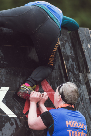 climbed: STOCKHOLM, SWEDEN - MAY 14, 2016 Tough Viking obstacle course around Stockholm Stadion and the Reebok blade obstacle are being climbed.