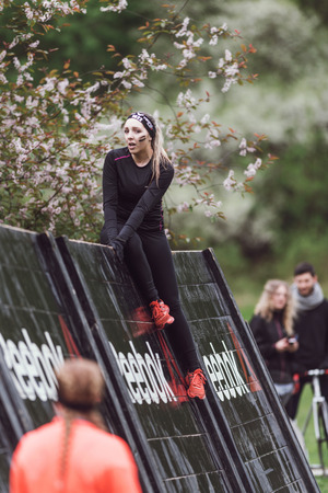 clambering: STOCKHOLM, SWEDEN - MAY 14, 2016 Tough Viking obstacle course around Stockholm Stadion and the Reebok blade obstacle are being climbed.