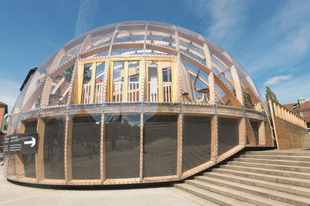 roundish: STOCKHOLM, SWEDEN - MAY 18, 2016 Dome of Visions house, a spherical test building outside of KTH. Editorial