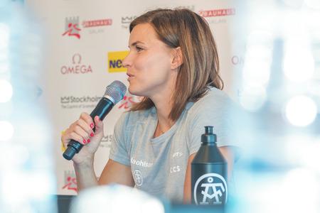hurdles: STOCKHOLM, SWEDEN - JUNE 15, 2016: Press conferance at IAAF Diamond League in Stockholm with Susanna Kallur. 100 meter hurdles