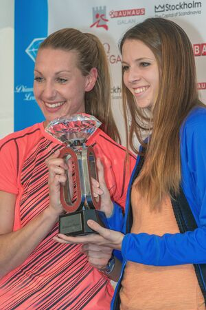 desiree: STOCKHOLM, SWEDEN - JUNE 15, 2016: Press conferance at IAAF Diamond League in Stockholm with Sofie Skoog and Desiree Rossit. Highjump