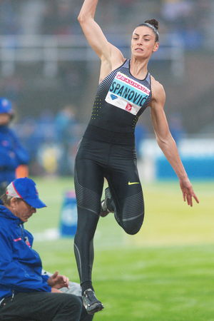 long jump: STOCKHOLM, SWEDEN - JUNE 16, 2016: Ivana Spanovic in the long jump at the IAAF Diamond League in Stockholm.