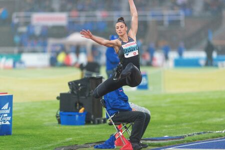 salto largo: STOCKHOLM, SWEDEN - JUNE 16, 2016: Ivana Spanovic in the long jump at the IAAF Diamond League in Stockholm.