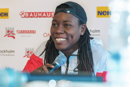 rival rivals rivalry season: STOCKHOLM, SWEDEN - JUNE 15, 2016: Press conferance at IAAF Diamond League in Stockholm with Brittney Reese. Long jump