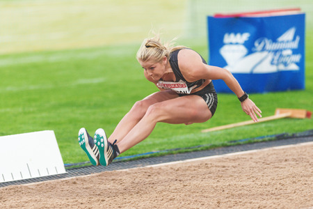 long jump: STOCKHOLM, SWEDEN - JUNE 16, 2016: Brooke Stratton in the long jump at the IAAF Diamond League in Stockholm.