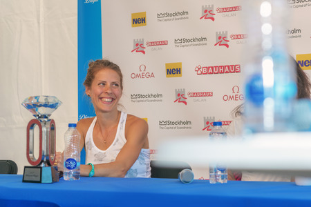 meters: STOCKHOLM, SWEDEN - JUNE 15, 2016: Press conferance at IAAF Diamond League in Stockholm with Charlotta Fougberg. 3000 meters