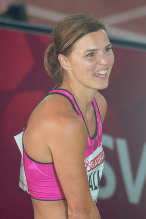 rivals rival rivalry season: STOCKHOLM, SWEDEN - JUNE 16, 2016: Susanna Kallur after her successful comeback at the IAAF Diamond League in Stockholm in 100 meter hurdle
