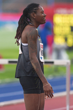long jump: STOCKHOLM, SWEDEN - JUNE 16, 2016: Brittney Reese in the long jump at the IAAF Diamond League in Stockholm.