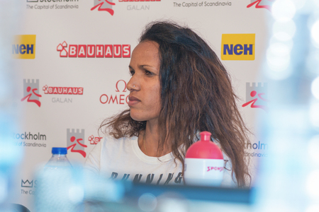 meters: STOCKHOLM, SWEDEN - JUNE 15, 2016: Press conferance at IAAF Diamond League in Stockholm with Meraf Bahta. 1500 meters