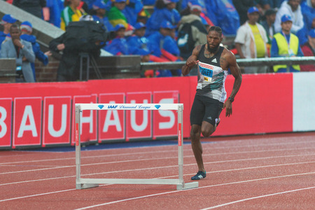 rivals rival rivalry season: STOCKHOLM, SWEDEN - JUNE 16, 2016: Michael Tinsley in the 400 meter hurdles at the IAAF Diamond League in Stockholm. Editorial
