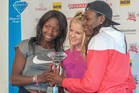 salto largo: STOCKHOLM, SWEDEN - JUNE 15, 2016: Press conferance at IAAF Diamond League in Stockholm with Sagnia, Stratton and Reese. Long jump Editorial
