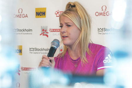 long jump: STOCKHOLM, SWEDEN - JUNE 15, 2016: Press conferance at IAAF Diamond League in Stockholm with Brooke Stratton. Long jump