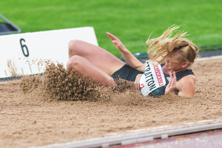 rival rivals rivalry season: STOCKHOLM, SWEDEN - JUNE 16, 2016: Brooke Stratton in the long jump at the IAAF Diamond League in Stockholm.