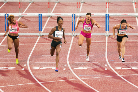 rivals rival rivalry season: STOCKHOLM, SWEDEN - JUNE 16, 2016: Susanna Kallur comeback after injury at the IAAF Diamond League in Stockholm at 100 meter hurdle. Lane 4 Editorial