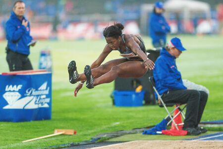 salto largo: STOCKHOLM, SWEDEN - JUNE 16, 2016: Khaddi Sagnia in the women long jump at the IAAF Diamond League in Stockholm.