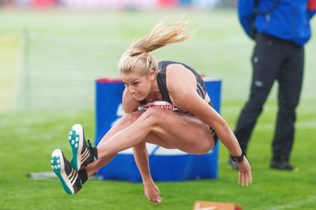 athletics: STOCKHOLM, SWEDEN - JUNE 16, 2016: Brooke Stratton in the long jump at the IAAF Diamond League in Stockholm.