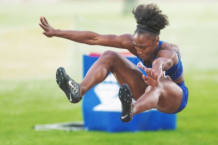 rival rivals rivalry season: STOCKHOLM, SWEDEN - JUNE 16, 2016: Tianna Bartoletta in the women long jump at the IAAF Diamond League in Stockholm.