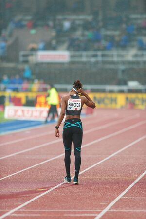 long jump: STOCKHOLM, SWEDEN - JUNE 16, 2016: Shara Proctor in the women long jump at the IAAF Diamond League in Stockholm.