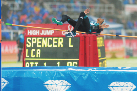 spencer: STOCKHOLM, SWEDEN - JUNE 16, 2016: Levern Spencer in the women high jump at the IAAF Diamond League in Stockholm.