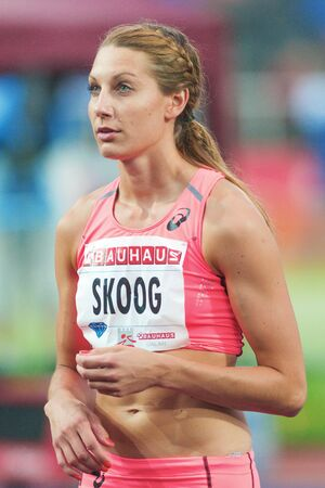 preperation: STOCKHOLM, SWEDEN - JUNE 16, 2016: Sofie Skoog in the women high jump at the IAAF Diamond League in Stockholm.