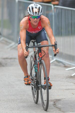 ber: STOCKHOLM, SWEDEN - JULY 02, 2016: Leader Flora Duffy (BER) cycling at the Women ITU Triathlon event in Stockholm.