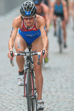 rus: STOCKHOLM, SWEDEN - JULY 02, 2016: Mariya Shorets (RUS) leading a group of cyclists at the Women ITU Triathlon event in Stockholm.