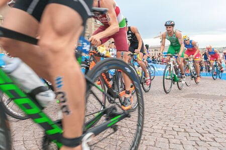 STOCKHOLM, SWEDEN - JULY 02, 2016: Lawrence Fanous (JOR) in the cycling at the Mens ITU Triathlon event in Stockholm.