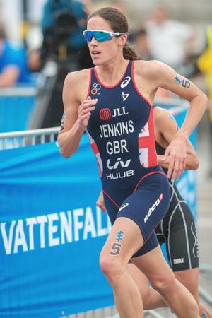 helen: STOCKHOLM, SWEDEN - JULY 02, 2016: Helen Jenkins (GBR) running at the Women ITU Triathlon event in Stockholm. Editorial